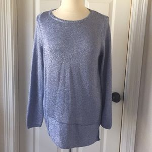 Chico's Blue & Silver Sparkle Sweater Sz 2